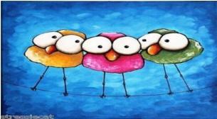 Çocuk Atölyesi-Tuval Boyama-Kuşlar