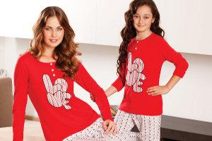 Yeni İnci'den Anne Kız bir Örnek Pijama Takımları