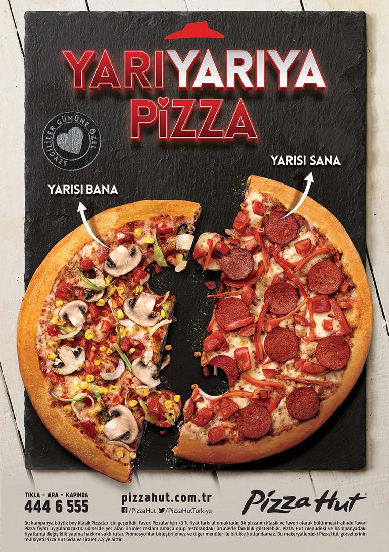 Sevgililer Günü'nde Pizza Hut'tan 'yarı yarıya pizza'