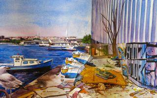 Suluboya ile İstanbul Manzarası