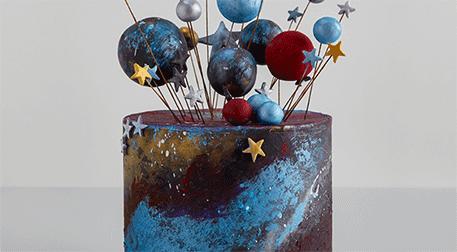 Galaxy Cake; Şeker Hamuru Kaplama