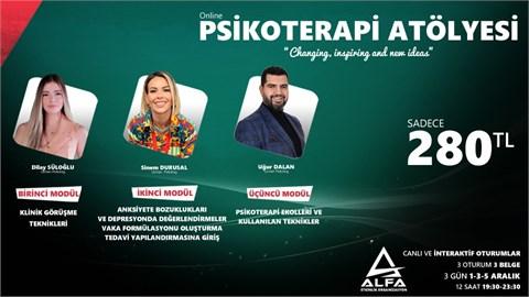 Online PSİKOTERAPİ ATÖLYESİ / 3 GÜN 1-3-5 Aralık