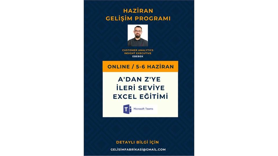 A'DAN Z'YE İLERİ SEVİYE EXCEL EĞİTİMİ