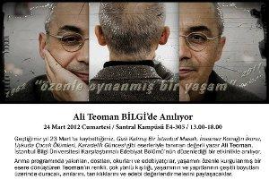 Yazar Ali Teoman BİLGİ'de Anılıyor